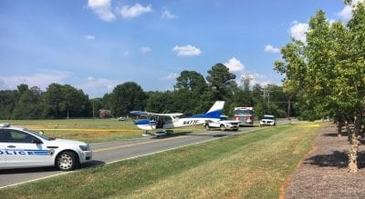 Small plane misses runway, ends up on east Charlotte road